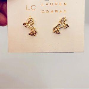 Earrings Unicorns Crystal in gold tone Pierced.